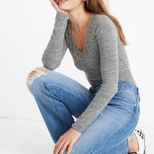 Madewell Gray Vneck Full Coverage Knit Bodysuit